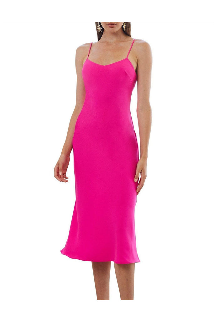 Rent By Johnny Neon Bias Slip Midi Dress