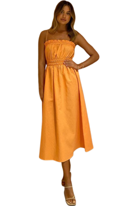 Hire By Nicola Flamenco Midi Dress in Mandarin by By Nicola