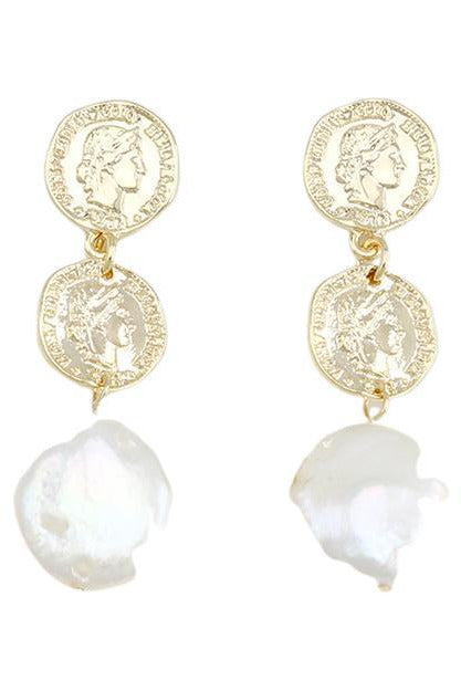 Rent Jolie & Deen Coin and Pearl Earrings (Gold)