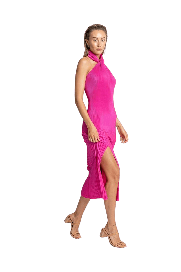 Hire Soirée Pleated Halter Gown Hot Pink by L'idèe