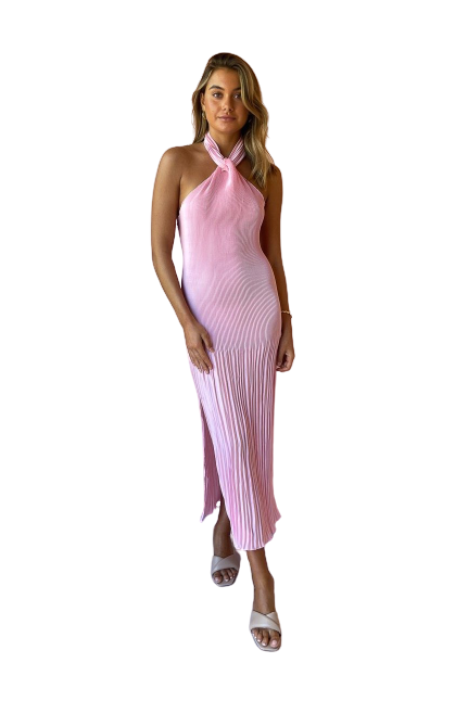 Rent L'idèe Soirée Pleated Halter Gown Pink