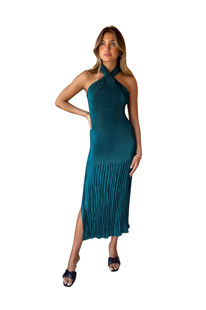 Rent L'idèe Soirée Pleated Halter Gown Teal