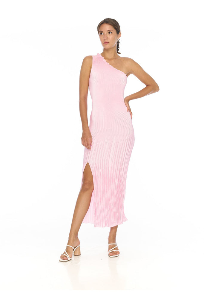 Rent L'idèe Soirée Pleated One Shoulder Gown Pink