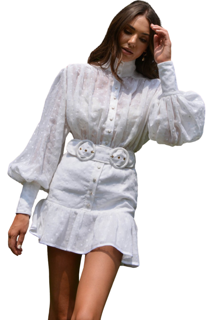 Hire White Embroidered Daisy Dress by Mackenzie Mode