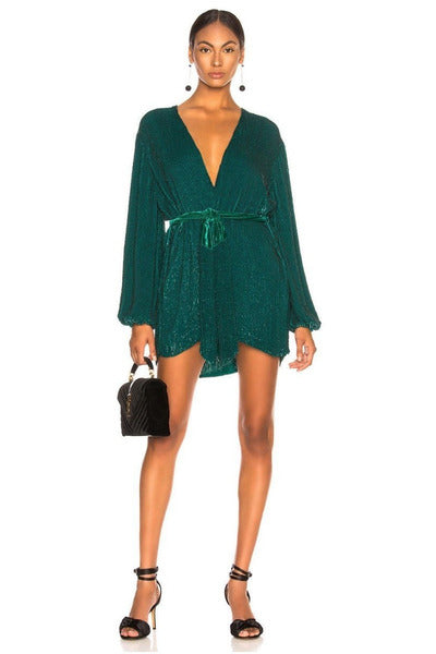 Hire Gabrielle Robe Dress Green by Retrofete