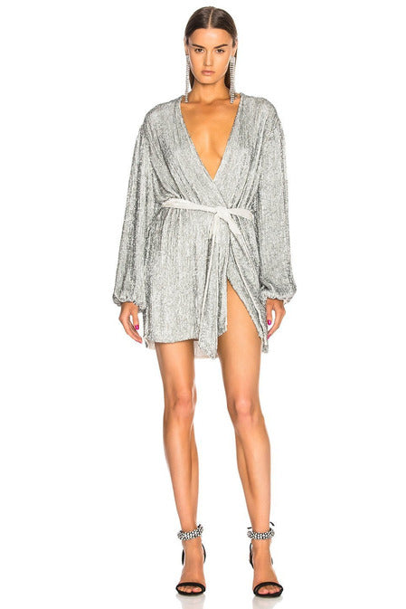 Hire Gabrielle Robe Dress Silver by Retrofete