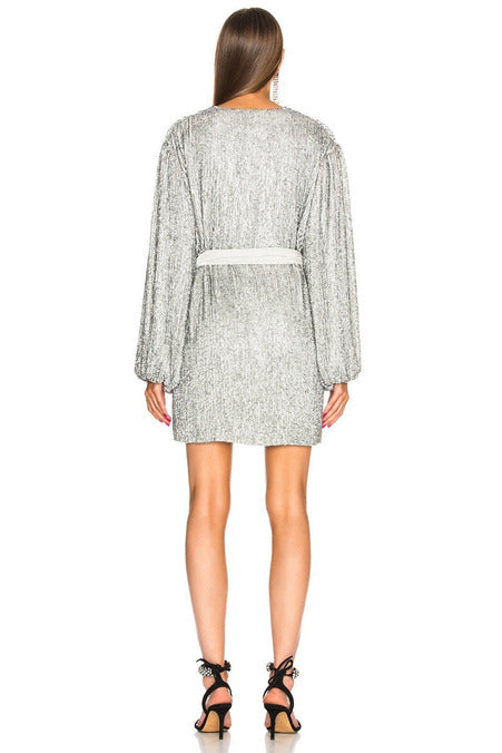 Rent Retrofete Gabrielle Robe Dress Silver