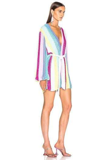 Hire Gabrielle Robe Dress Unicorn Stripes by Retrofete