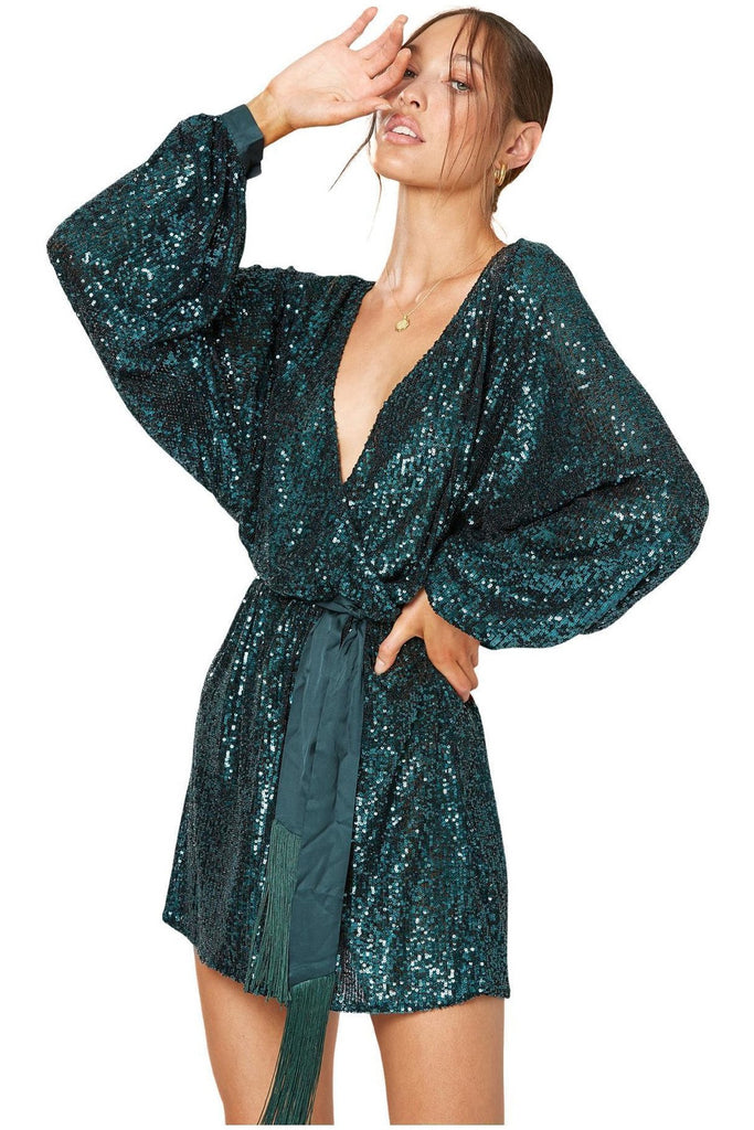 Rent Winona Broadway Short Sequin Dress Green