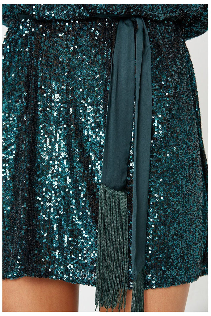 Hire Broadway Short Sequin Dress Green by Winona