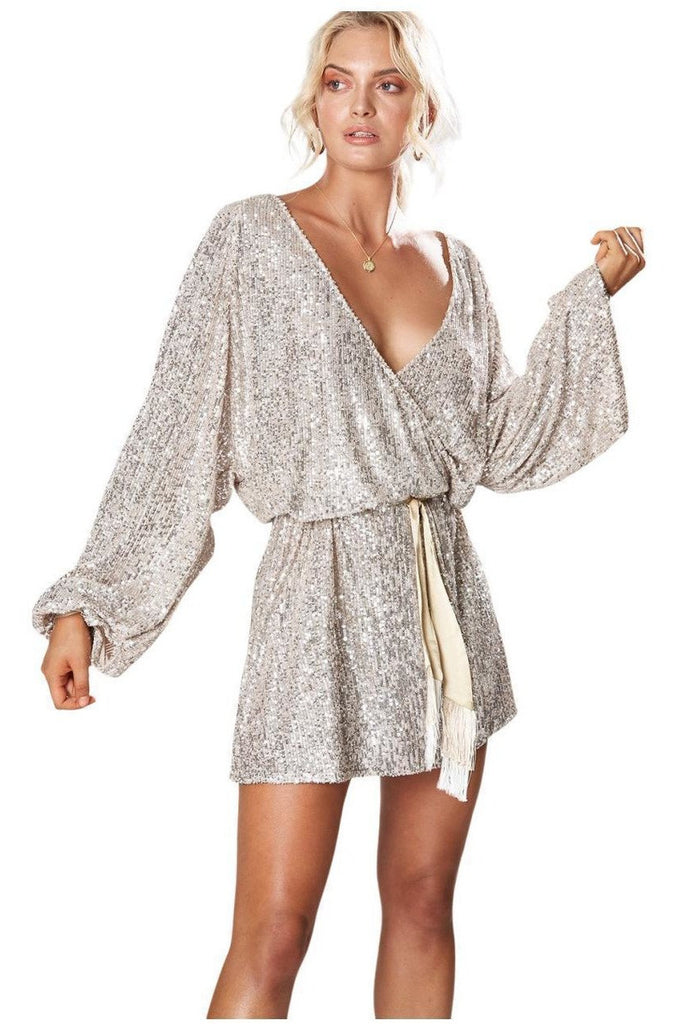 Hire Broadway Short Sequin Dress Silver by Winona