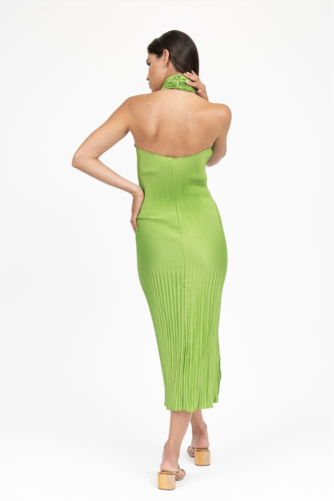 Soirée Pleated Halter Gown Green