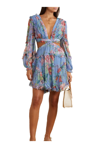 Zimmermann Bellitude laced floral-print silk mini dress