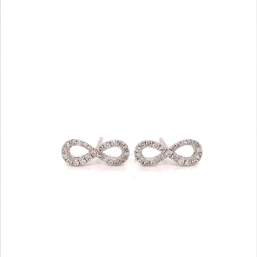 Infinity Earrings 18k White Gold Full Diamond