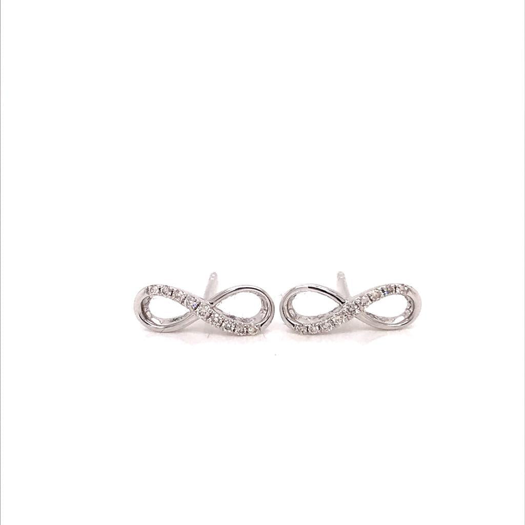 Infinity 18k White Gold Diamond Earrings