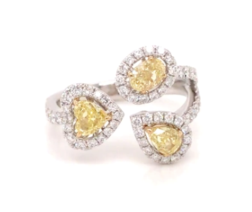 18k Trio Yellow and White Diamond Ring