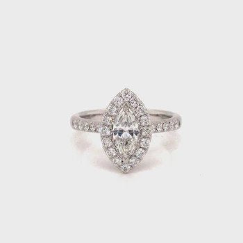 18k Marquise Halo Diamond Ring