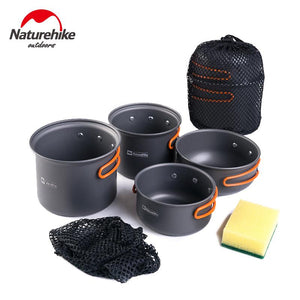 Naturhike Ultralight Outdoor Camping Cookware Utensils Four Combination Cookware Tableware For Picnic Bowl Pot Pan Set