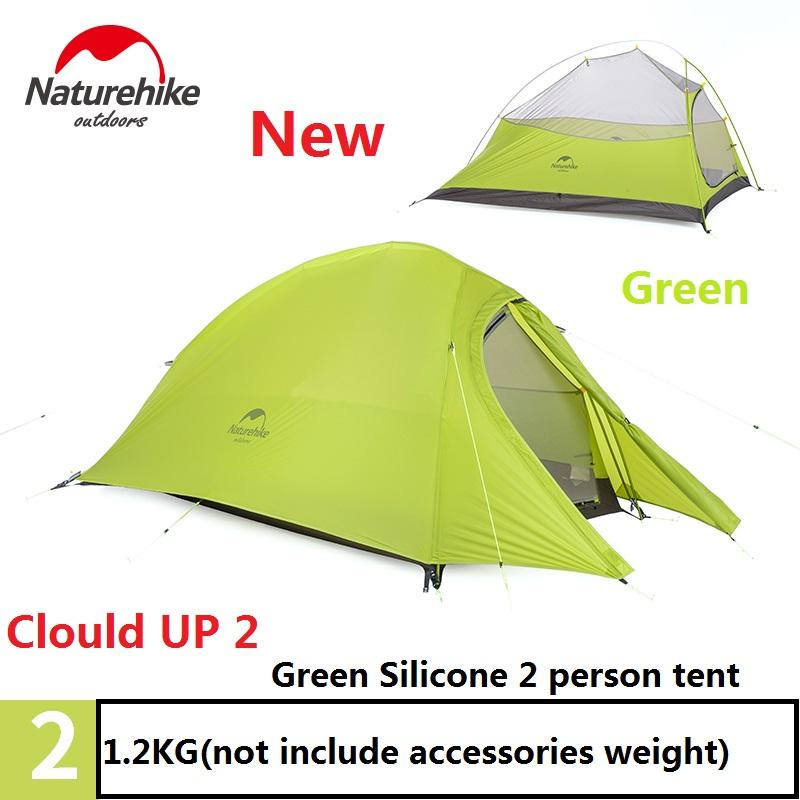 Naturehike Green Tent 20D Silicone Fabric Ultralight 2 Person Double Layers Aluminum Rod Camping Tent 4 Season With Mat