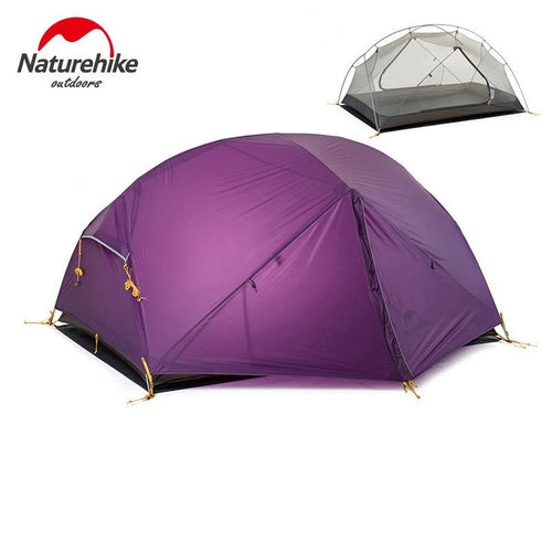 Naturehike Dome Tent 2 Person 20D Silicone Fabric Double Layers Rainproof NH Outdoor Ultralight Camping Tent 3Colors