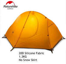 Naturehike 1.3KG Tent 20D Silicone Fabric Ultralight 1 Person Double Layers Aluminum Rod Hiking Tent 4 Season With Camping Mat