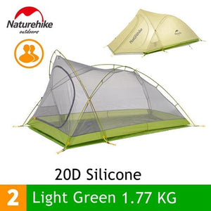 Naturehike 1.7KG   2 Person Camping Tent 20D Silicone Fabric Double Layers Rainproof NH Outdoor Ultralight Camping Hiking Tent
