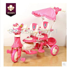 Xinghua Cartoon twins Trike with steel frame and PP part kids tandem tricycle