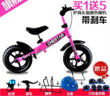 "High Quality 12"" Baby Balance Bike With Hand Brake, Steel Frame and EVA Solid Wheel, No Pedal Bike with Protective Gear Gift"