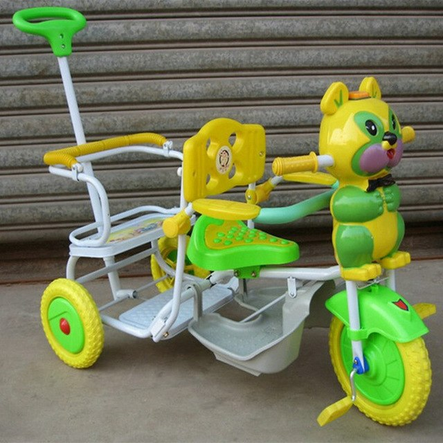 high quality cartoon music double seat twins trolley tricycle, lovely cartoon twins tricycle, cartoon style double baby tricycle