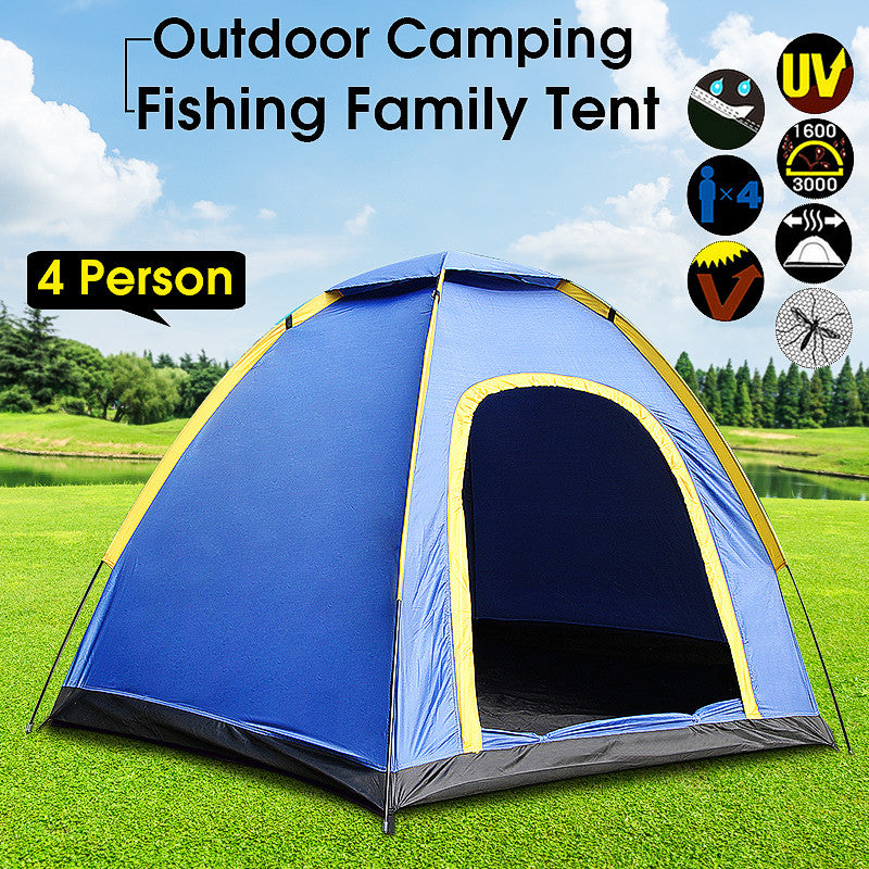 Portable 3-4 Person Family Tent Outdoor Camping Hiking Beach Tent Waterproof