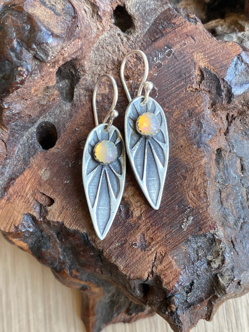 Stamped sterling silver and moonstone shield earrings