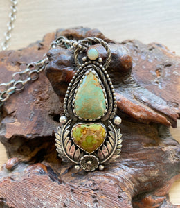 Ornate turquoise and opal necklace