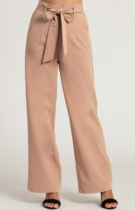 High Waisted Pants with Belt Detail
