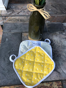 Polka & pale yellow  - (1) Potholder
