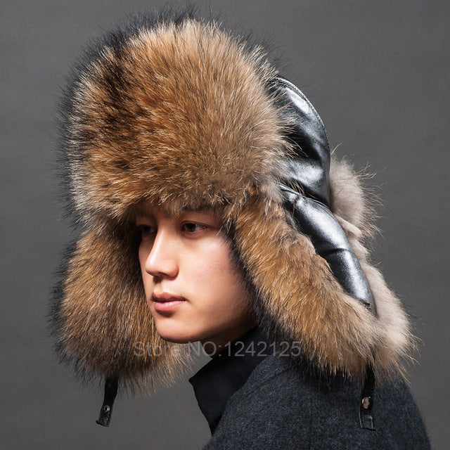 ... New Russia winter parent-child boy men women real fur hat genuine  leather top Whole f9828355bd41