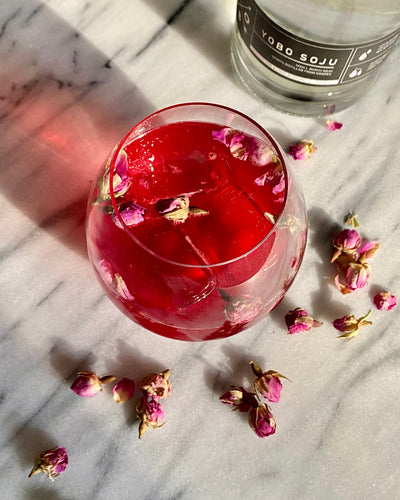 Cranberry-Soju-Rose Cocktail