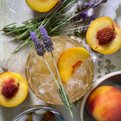Lavender Peach Smash with Bourbon