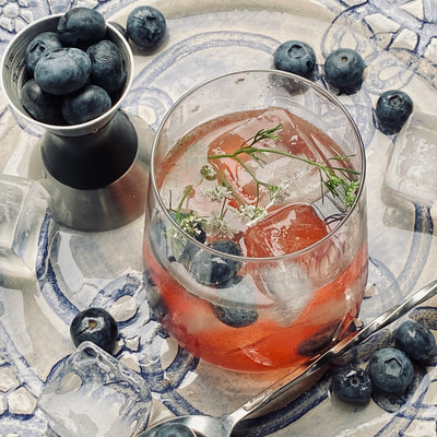 Hibiscus-Mint-Lemon with Vodka and Blueberries