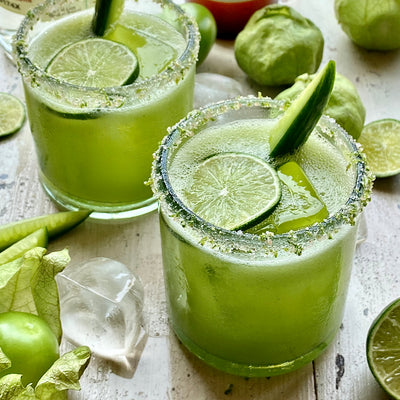 Tomatillo & Mezcal Margarita with Lime-Jalapeño