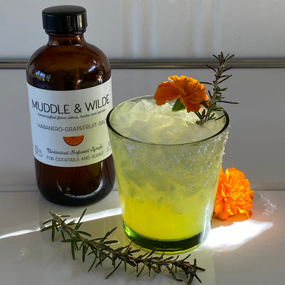 Habanero-Grapefruit-Salt  & Smoked Rosemary Mocktail