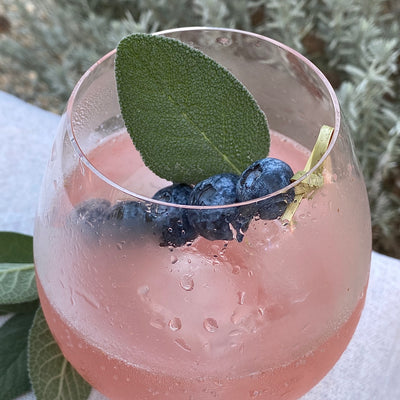 Sage-Lemon and Blueberry Mocktail