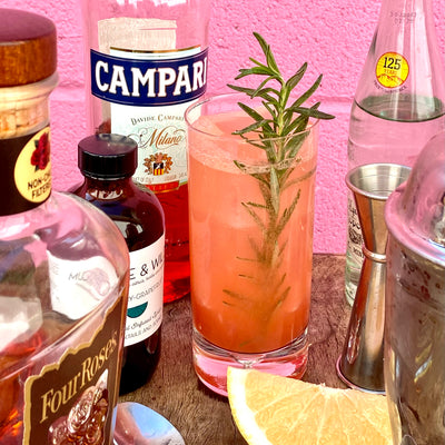 Campari, Bourbon & Rosemary-Grapefruit Highball