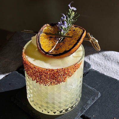 Burnt Orange Mezcal Margarita with Habanero-Grapefruit-Salt