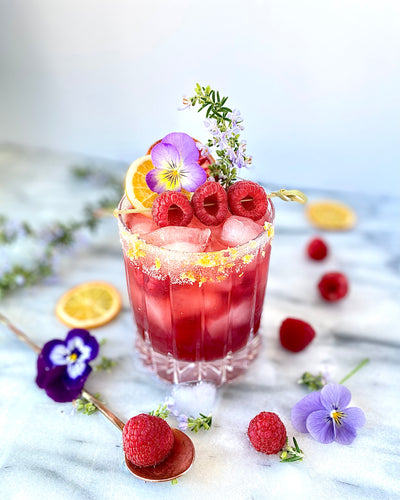 Rosemary-Raspberry Smash with Kombucha