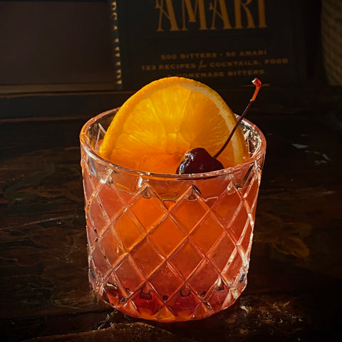 Old Fashioned with Hibiscus-Clove-Orange
