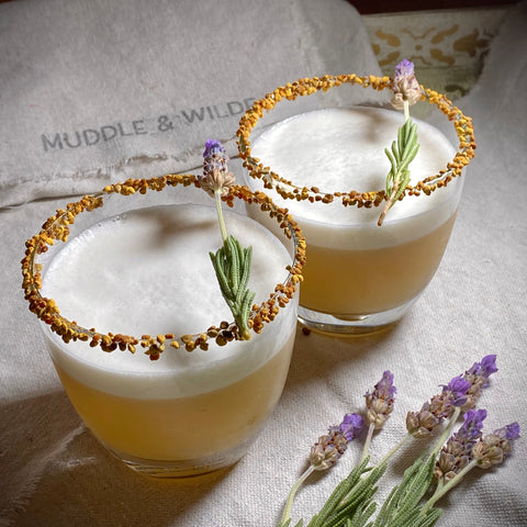 Lavender Whiskey Sour with Honey & Bee Pollen Rim