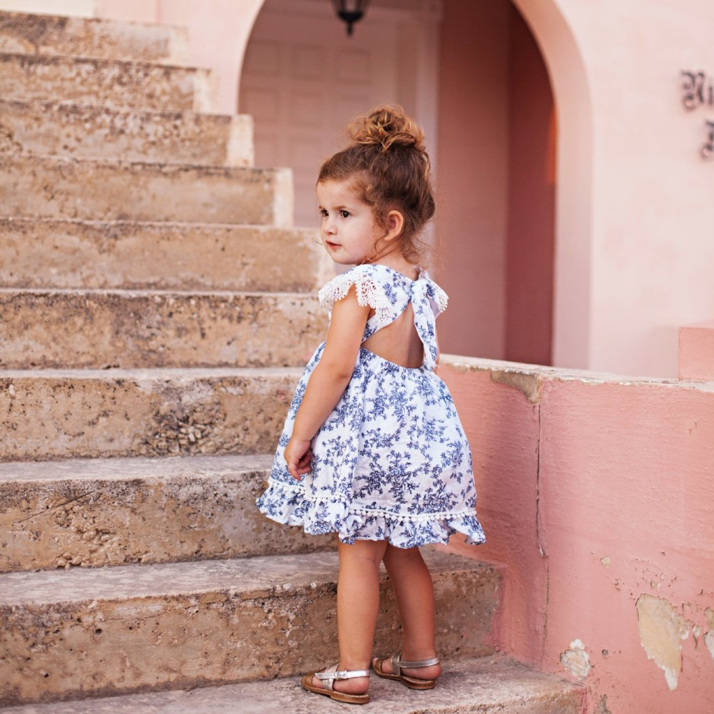 Sicily Dress in Blue Vintage Floral