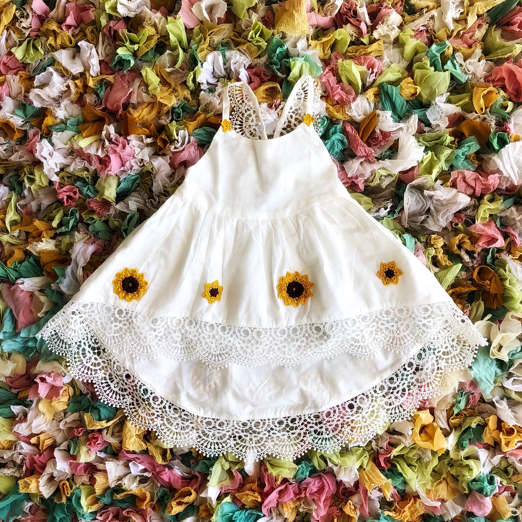 LIMITED EDITION - Gozo dress in White with hand crocheted Sunflowers