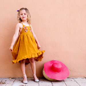 Seville Embroidery Dress in Burnt Amber