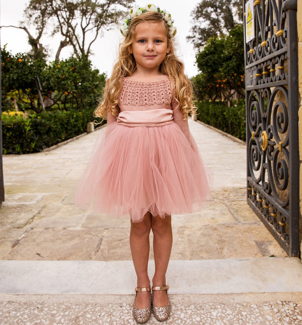 Florence Knit Tutu Dress in Blush